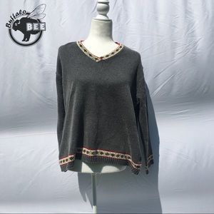 Jones New York grey v-neck sweater sport size SP